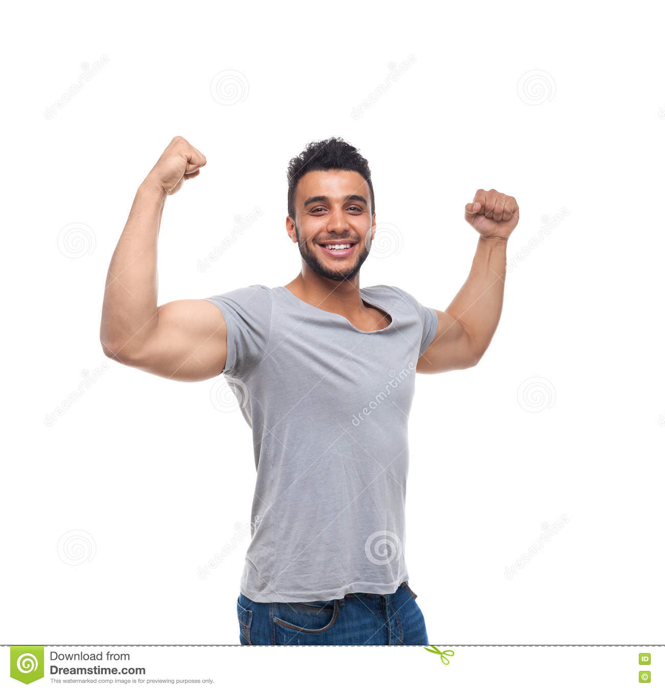 Casual Man Strong Biceps Muscle Happy Smile