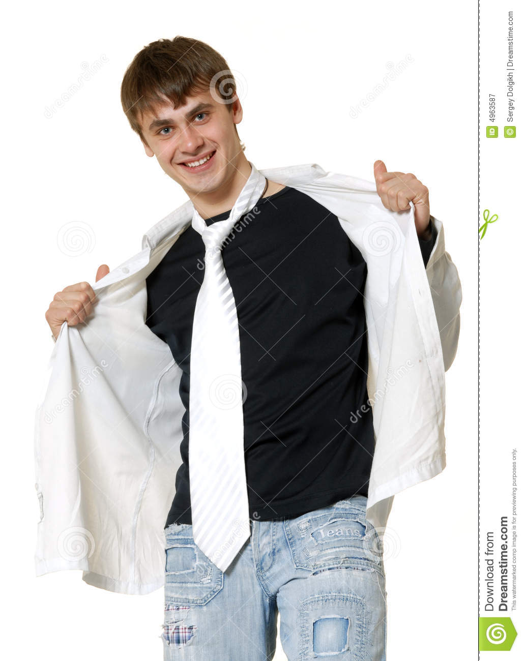 Casual man in tie and t shirt royalty free stock for Casual shirt and tie