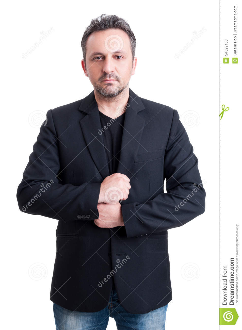 Casual Man Wearing Suit Jacket And Black T-shirt Stock Photo ...