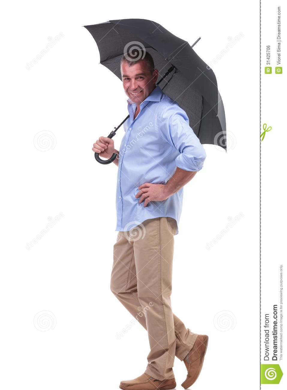a0f3507d4224 Full length picture of a casual senior man holding an opened umbrella on his  shoulder and a hand on his hip while smiling for the camera. isolated on  white ...