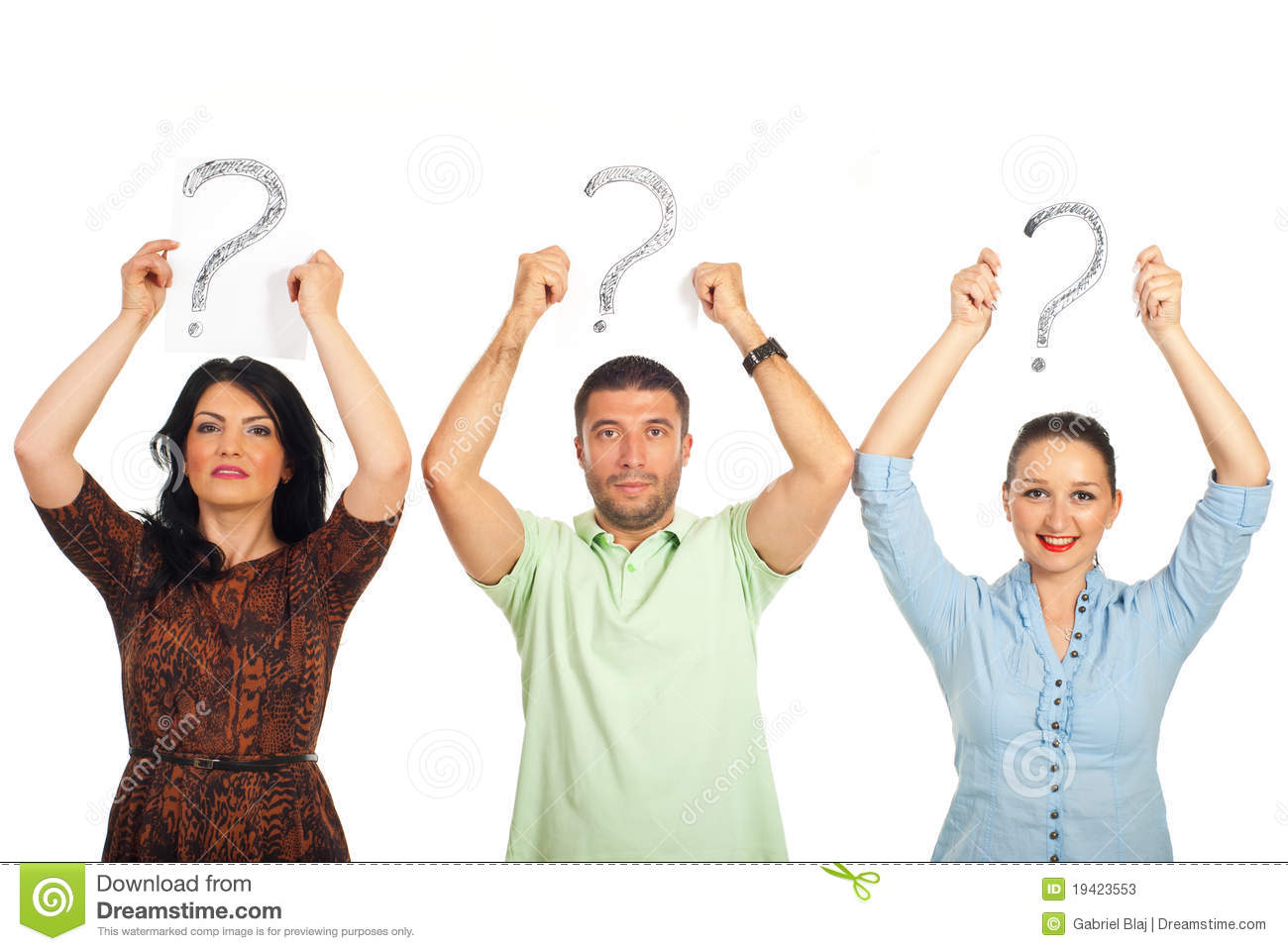 Casual people holding questions mark overhead