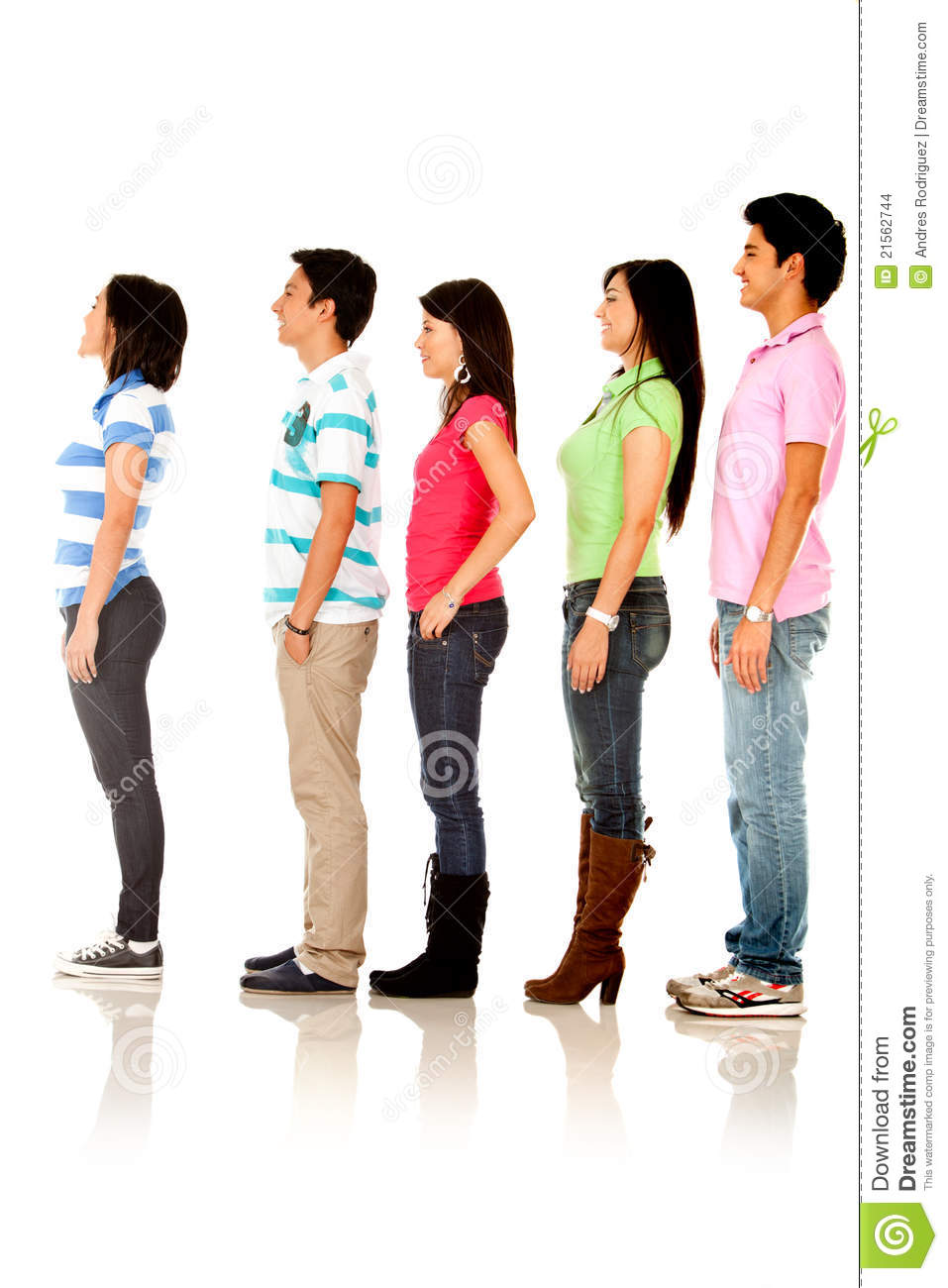 Casual People Queuing Stock Photo Image Of Wait White