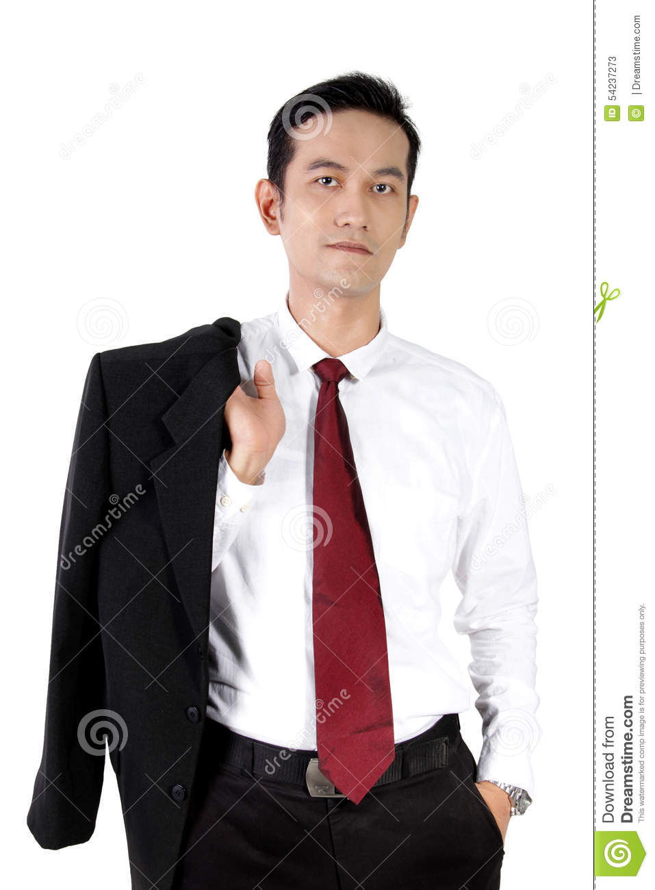 Asian businessman standing in casual style while holding his suit ...