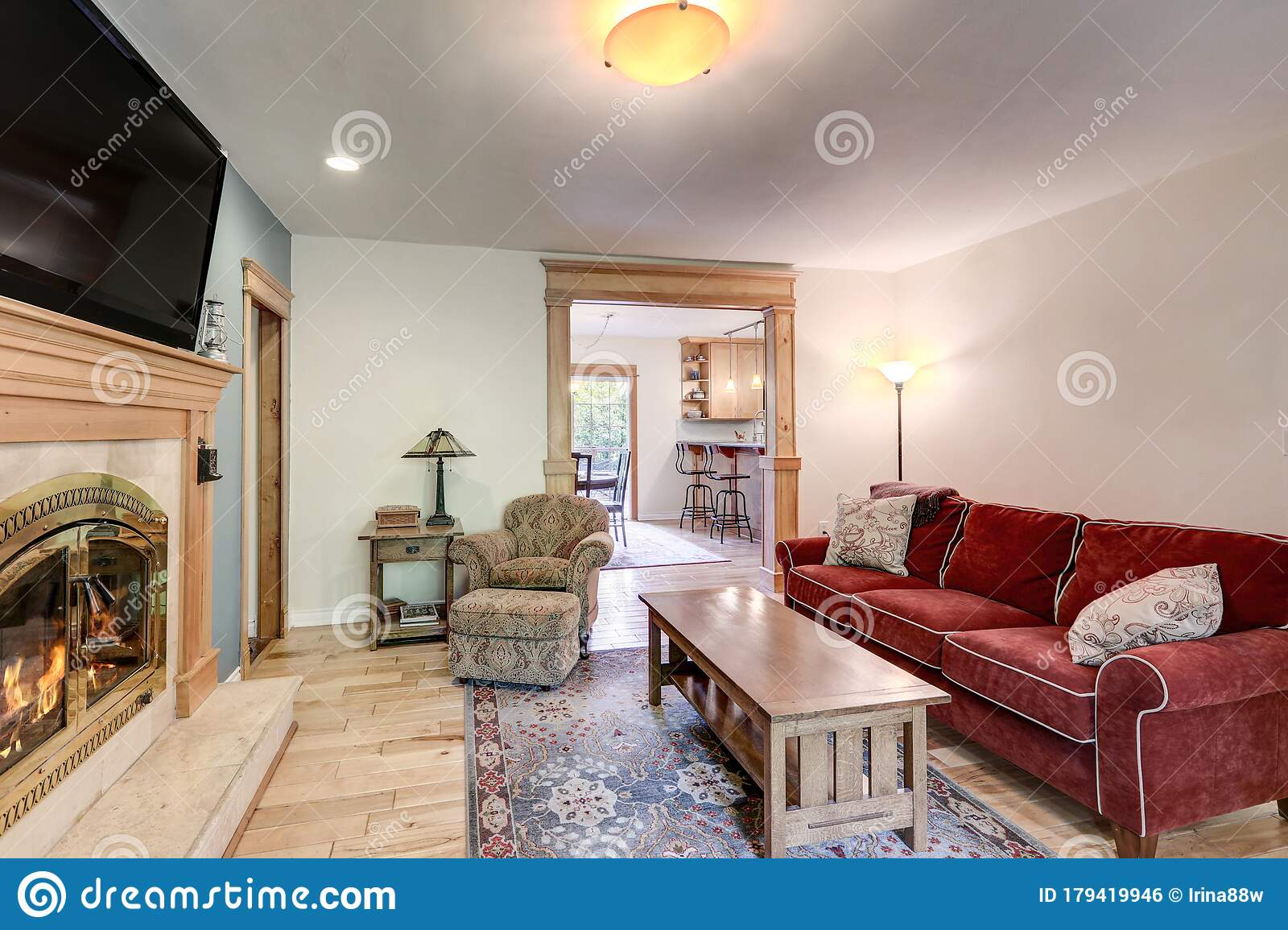 Casual Simple Living Room With Fireplace, Blue Wall, Red ... on Fireplace Casual Living id=43511