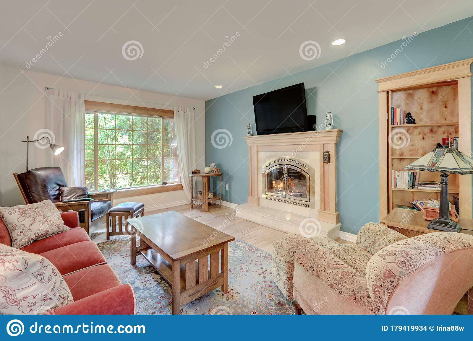 Casual Simple Living Room With Fireplace And Red Sofa With ... on Fireplace Casual Living id=53720