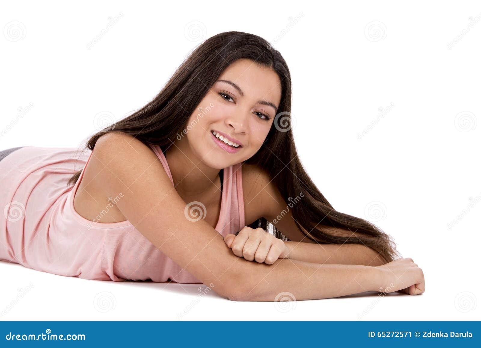 Casual Teen Girl Sitting Criss Cross On The Floor Stock ...