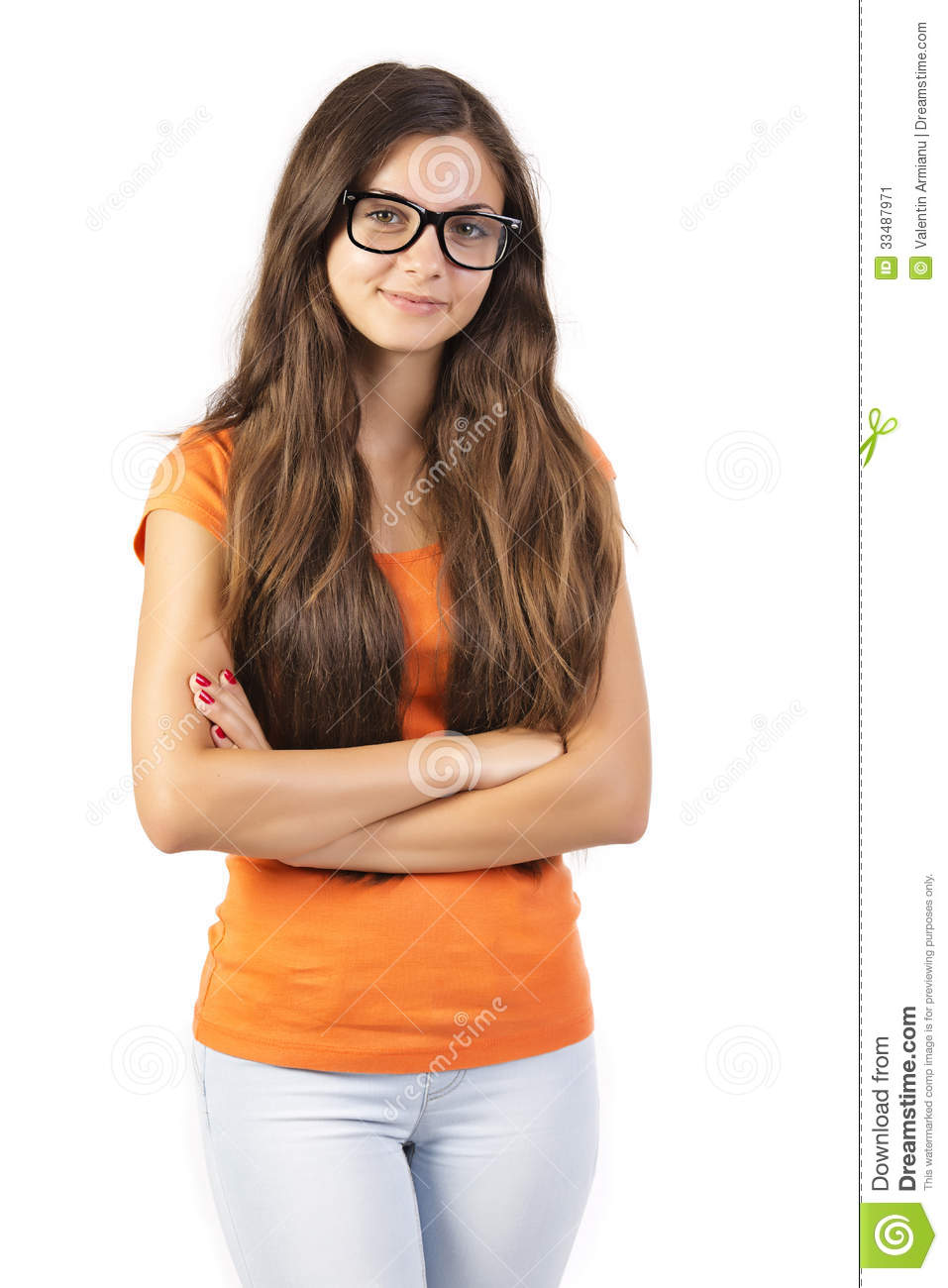 Teen Girl Laying On Her Bed Listening Music Stock Image: Casual Teen Girl Stock Image. Image Of Teenager, Girl
