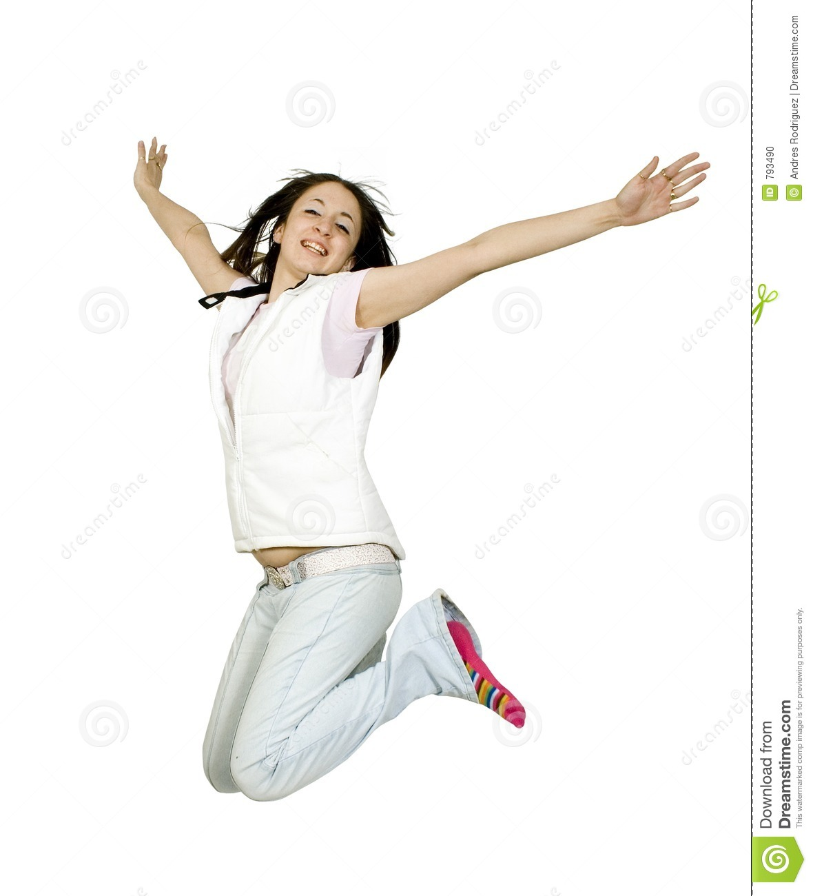 Casual Teen Jumping Of Joy Stock Photo Image Of Casual