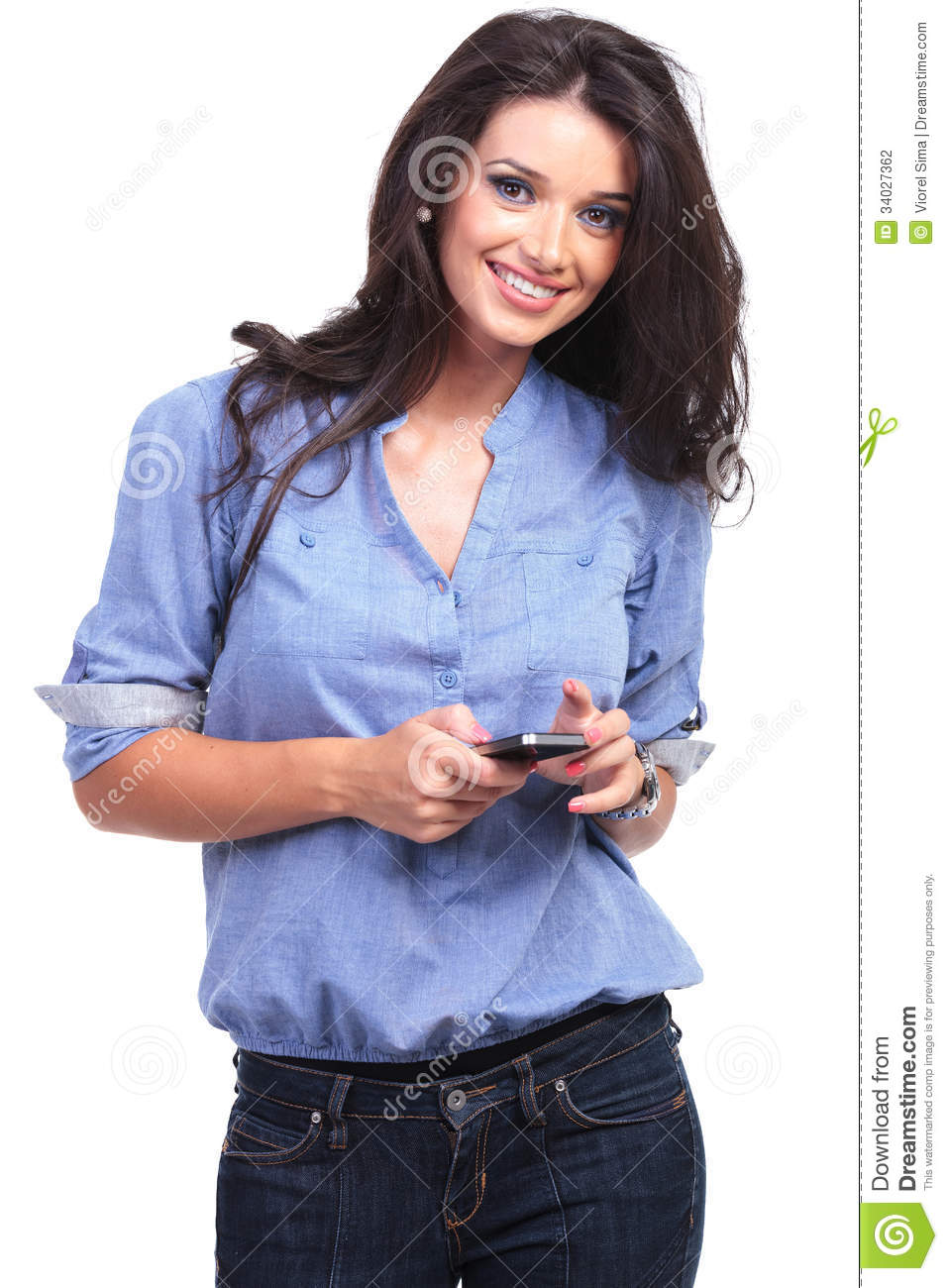 Casual woman with a phone in her hand