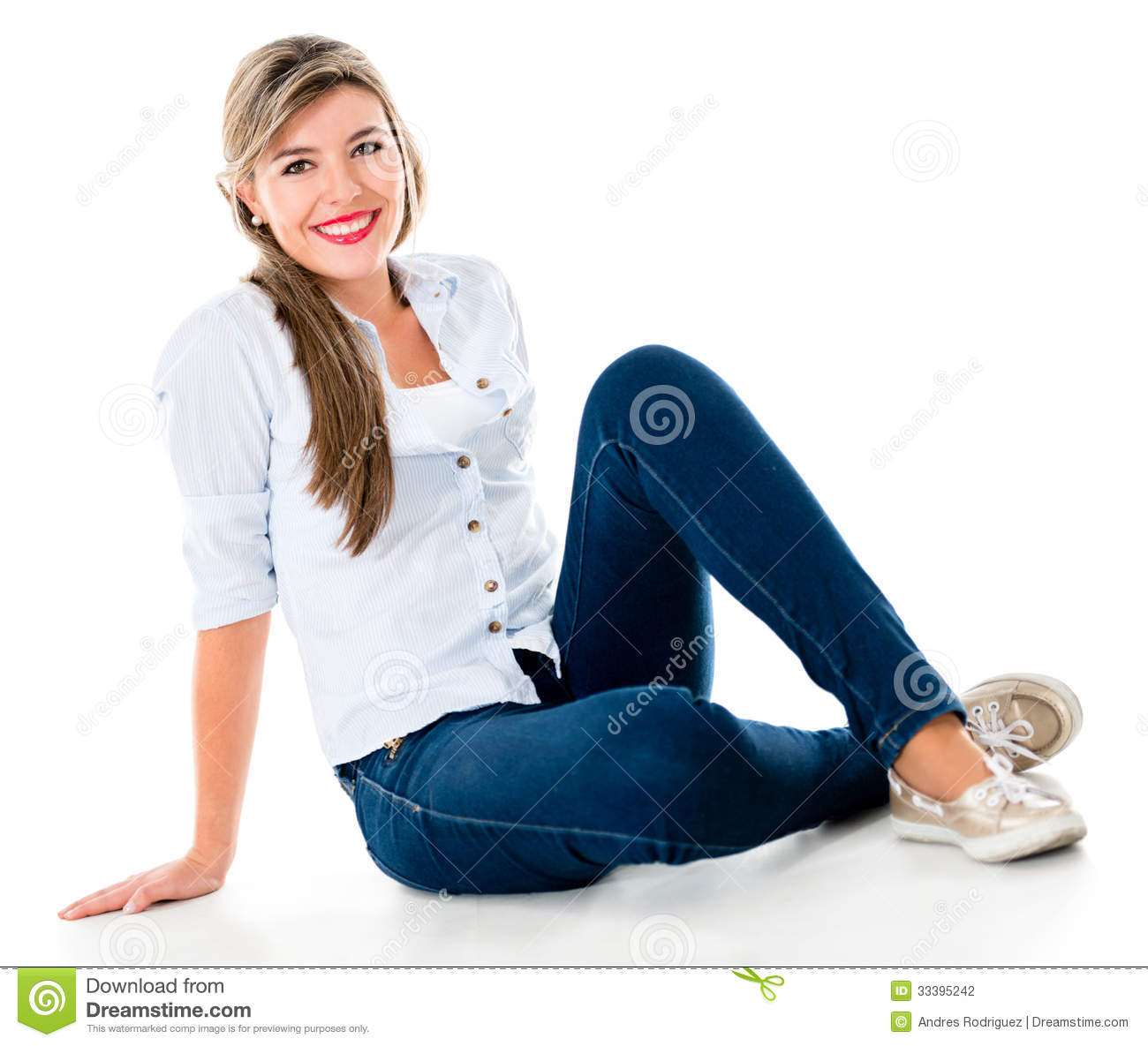 casual woman sitting on the floor stock photography image 33395242. Black Bedroom Furniture Sets. Home Design Ideas