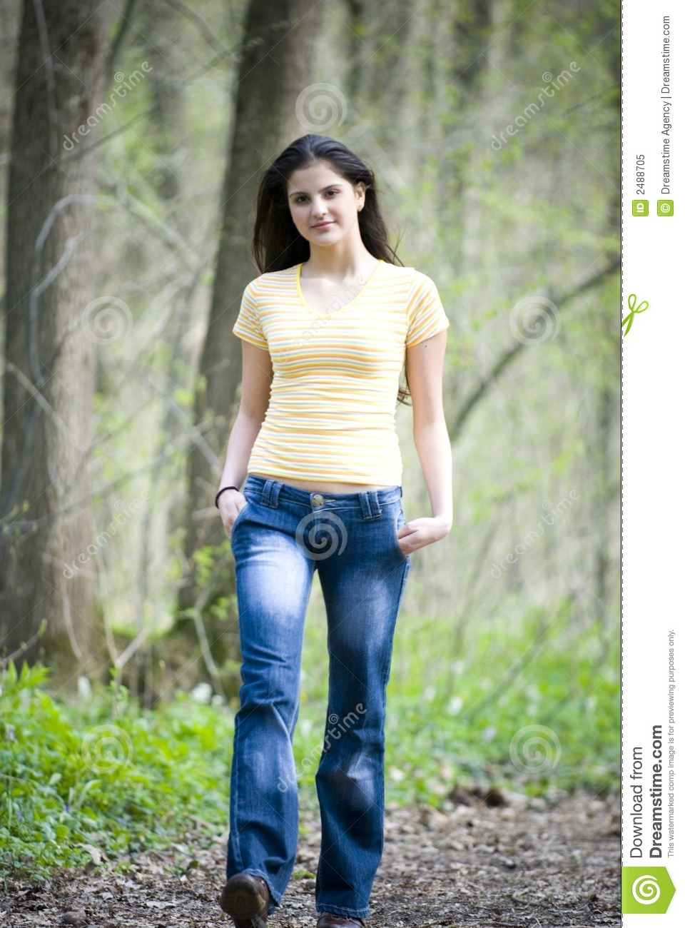 Casual Woman Walking In Forest Stock Image - Image of ...