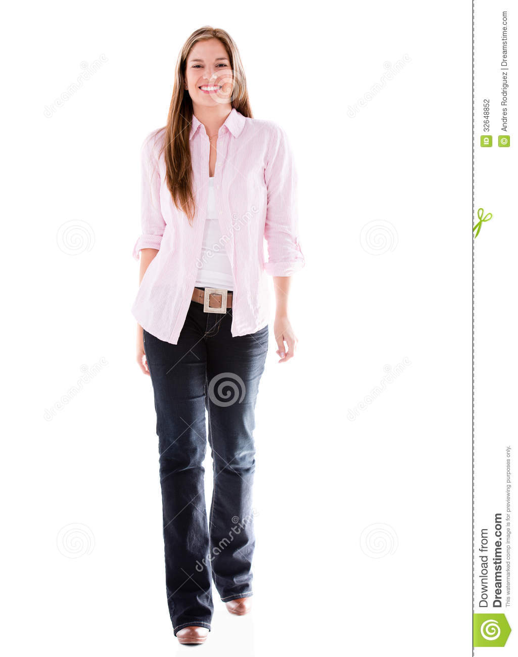 Casual Woman Walking Happy Isolated White Background Young Adult Books June