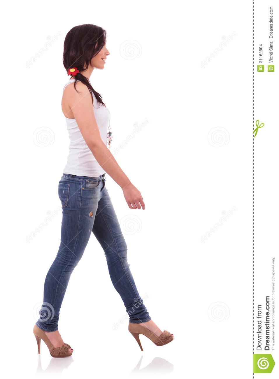 Woman Walking Side View Casual woman walking to sideWoman Standing Side White Background