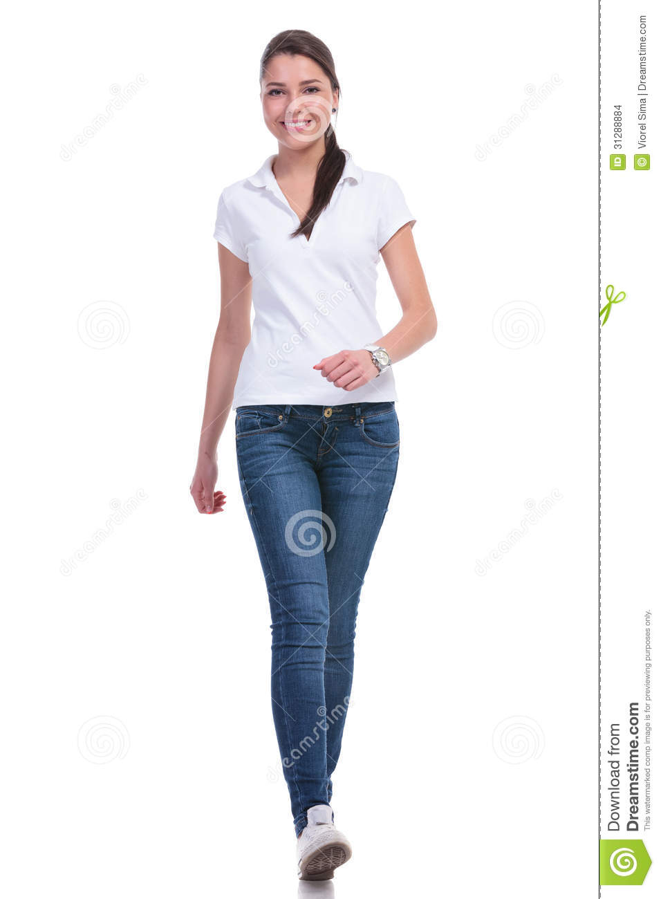 Casual Woman Walks Towards You Stock Images Image 31288884
