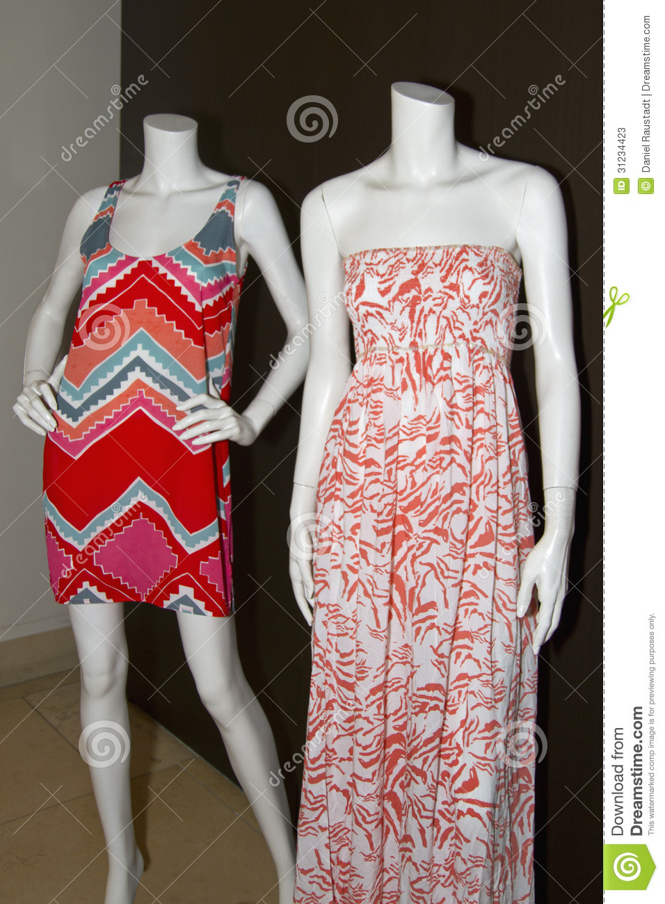 Casual Womens Beach Clothing On Mannequins Stock Photos