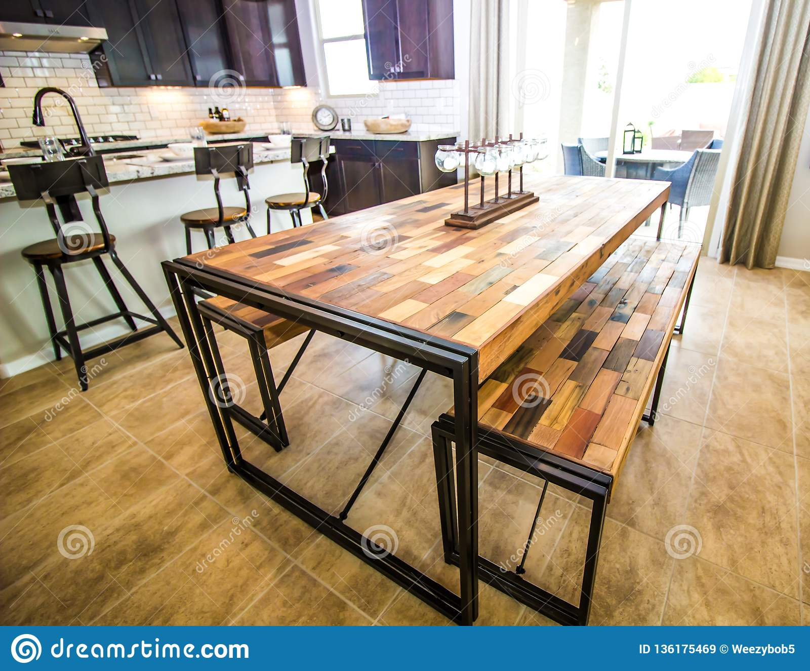 Casual Dining Table In Modern Kitchen Stock Image Image Of Squares Benches 136175469