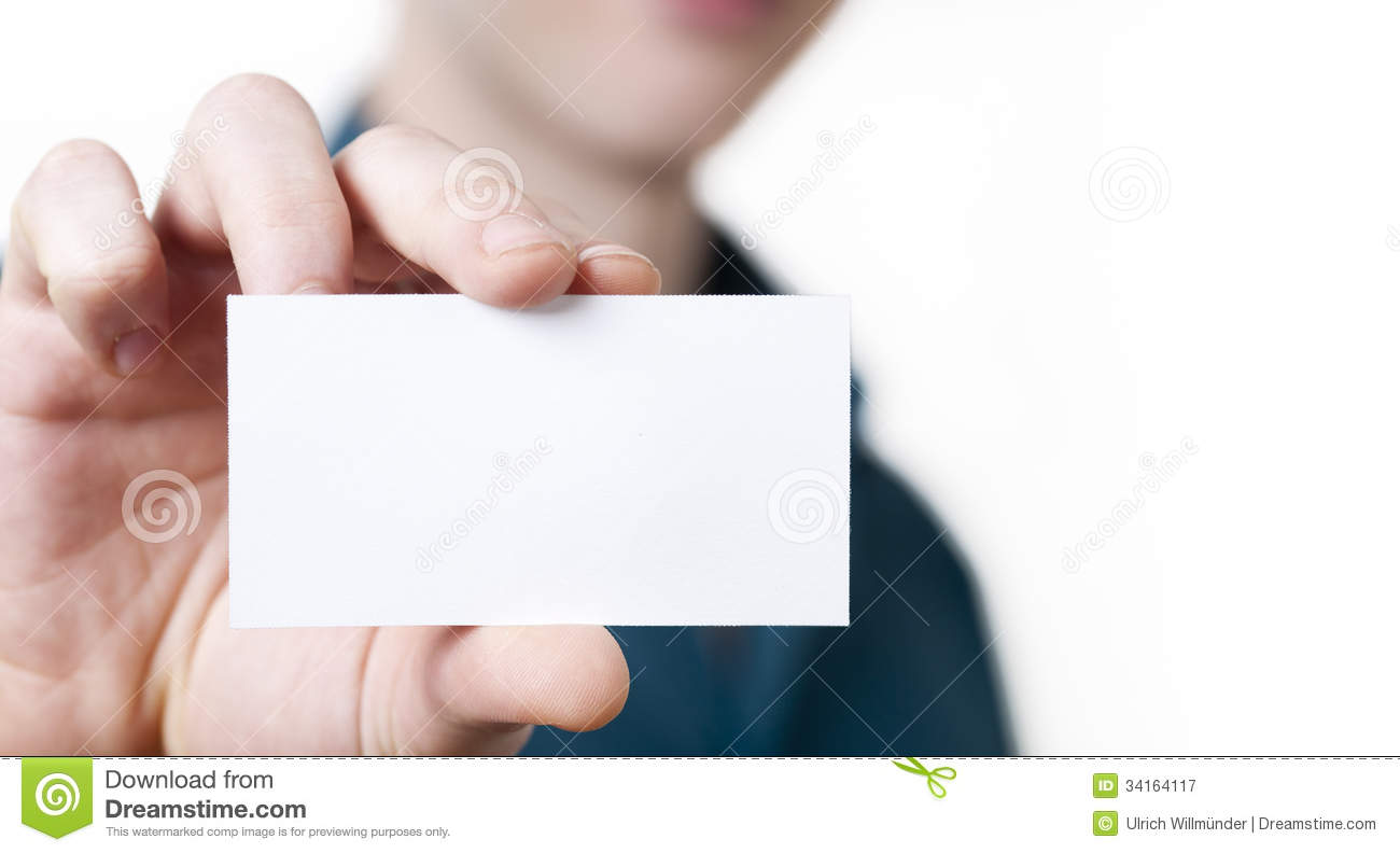 Casual Young Businessman Holding Business Card. Stock Image ...