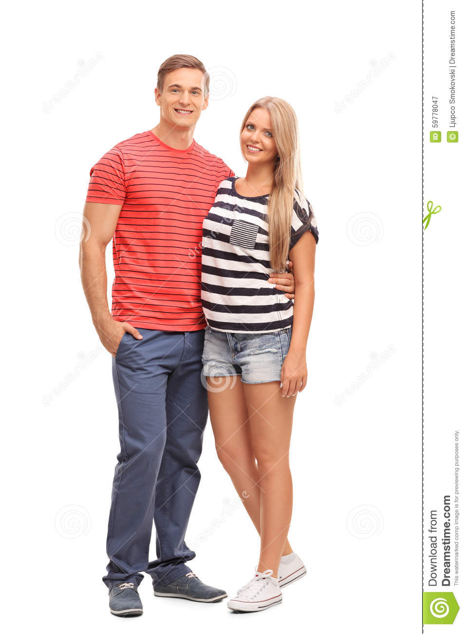 Casual Young Couple Hugging And Posing Stock Image Image Of Clothes Good 59778047