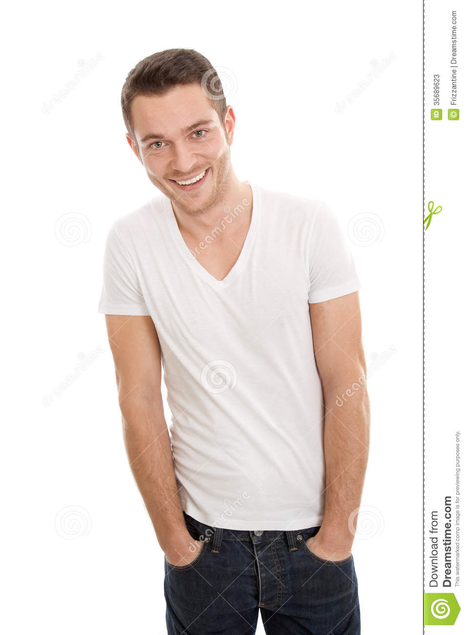 Casual young happy attractive man stock image image for Casual white t shirt