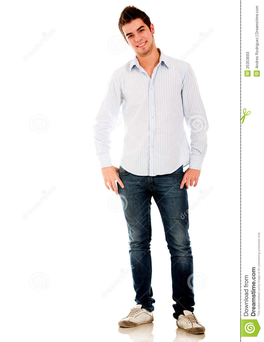 Casual young man standing isolated over a white background.