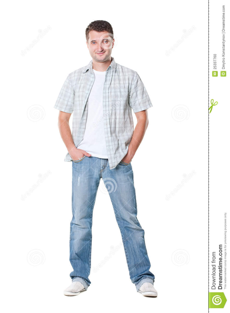 Casual Young Man In Shirt And Jeans Stock Photo - Image of white ... 5b5d90b0dac