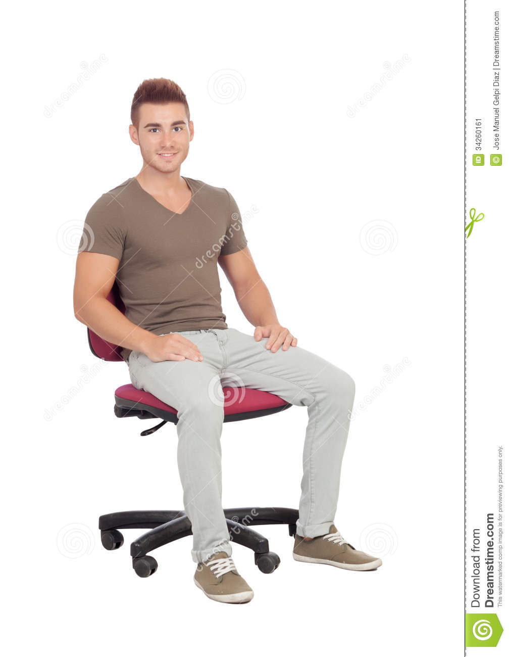 design office chair with Stock Image Casual Young Man Sitting Office Chair Isolated White Background Image34260161 on Furniture Blocks Design as well Convenience Store Layout also Eames Plastic Chairs also Homeofficemadeeasy together with Classroom Tablet Arm Nest Chairs.