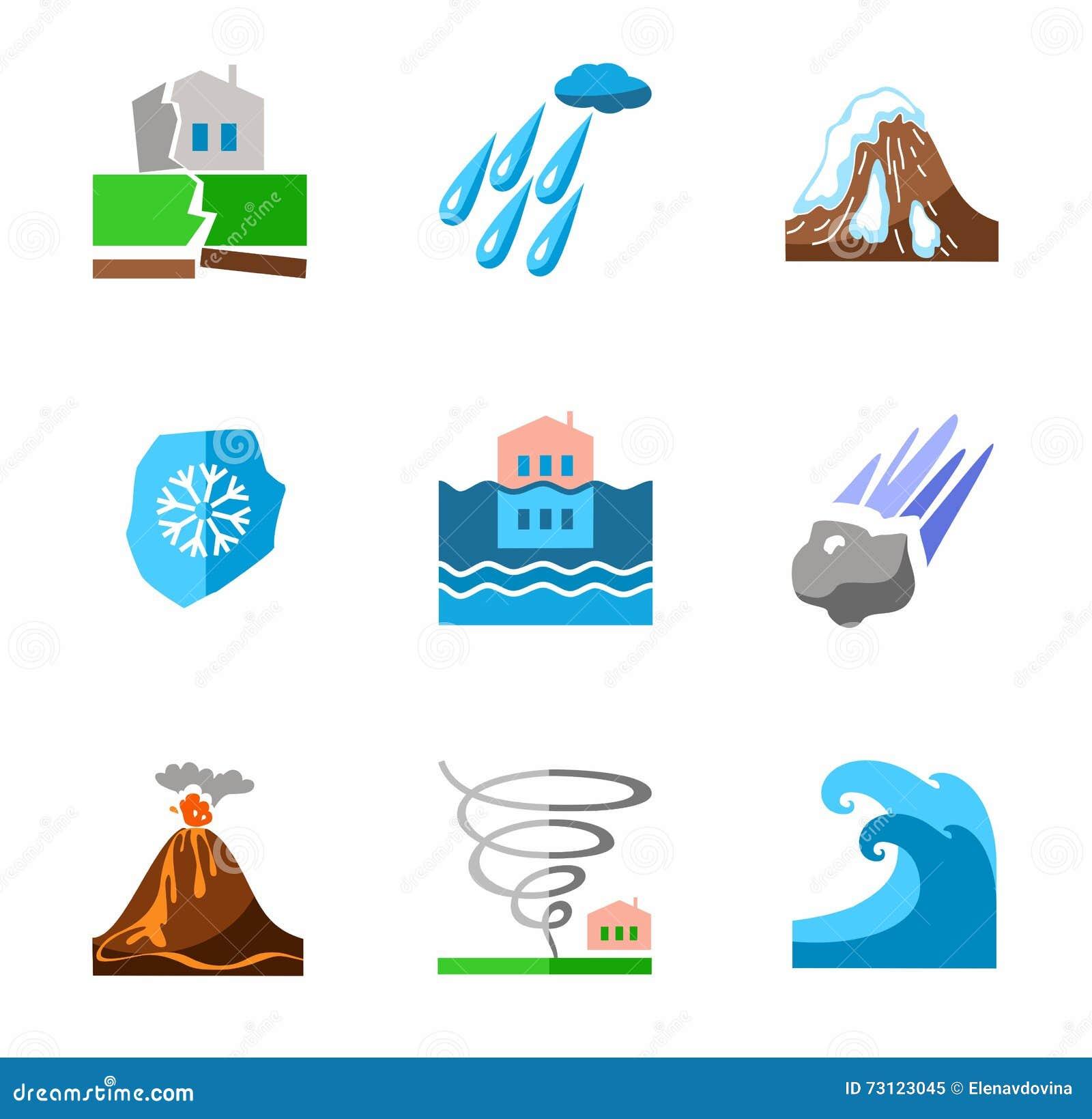 Catástrofes naturais, ícones coloridos