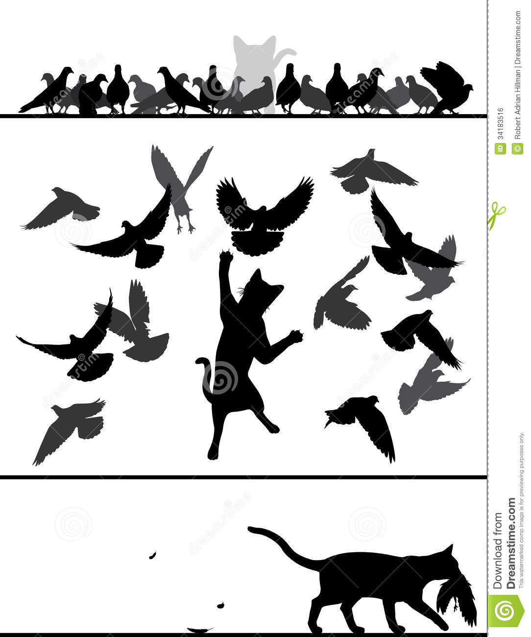 Cat Amongst Pigeons Stock Vector Illustration Of Action
