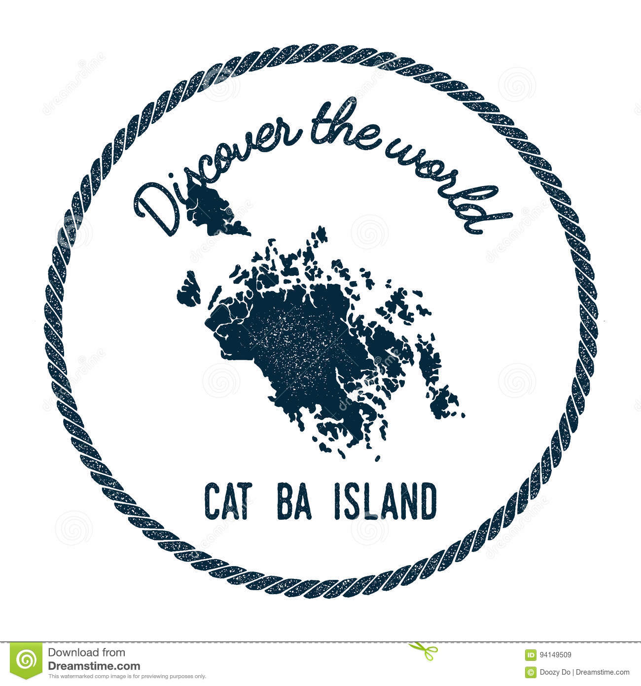 Cat Map Of The World.Cat Ba Island Map In Vintage Discover The World Stock Vector