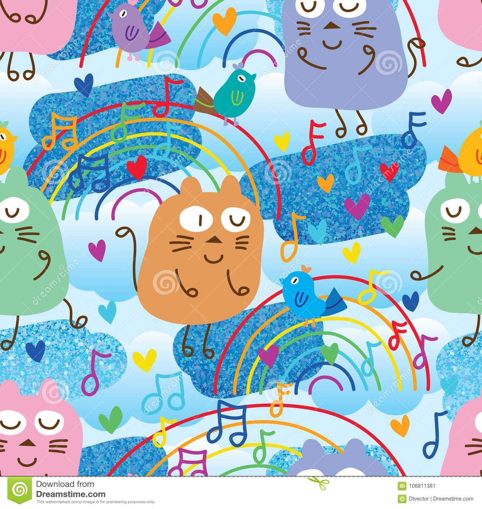 Cat and bird music note blue glitter seamless pattern