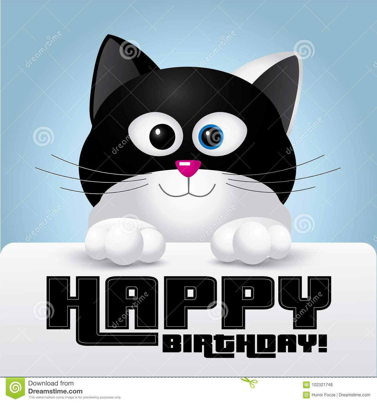Cat with black and white colors holding a happy birthday greeting cat with black and white colors holding a happy birthday greeting card m4hsunfo
