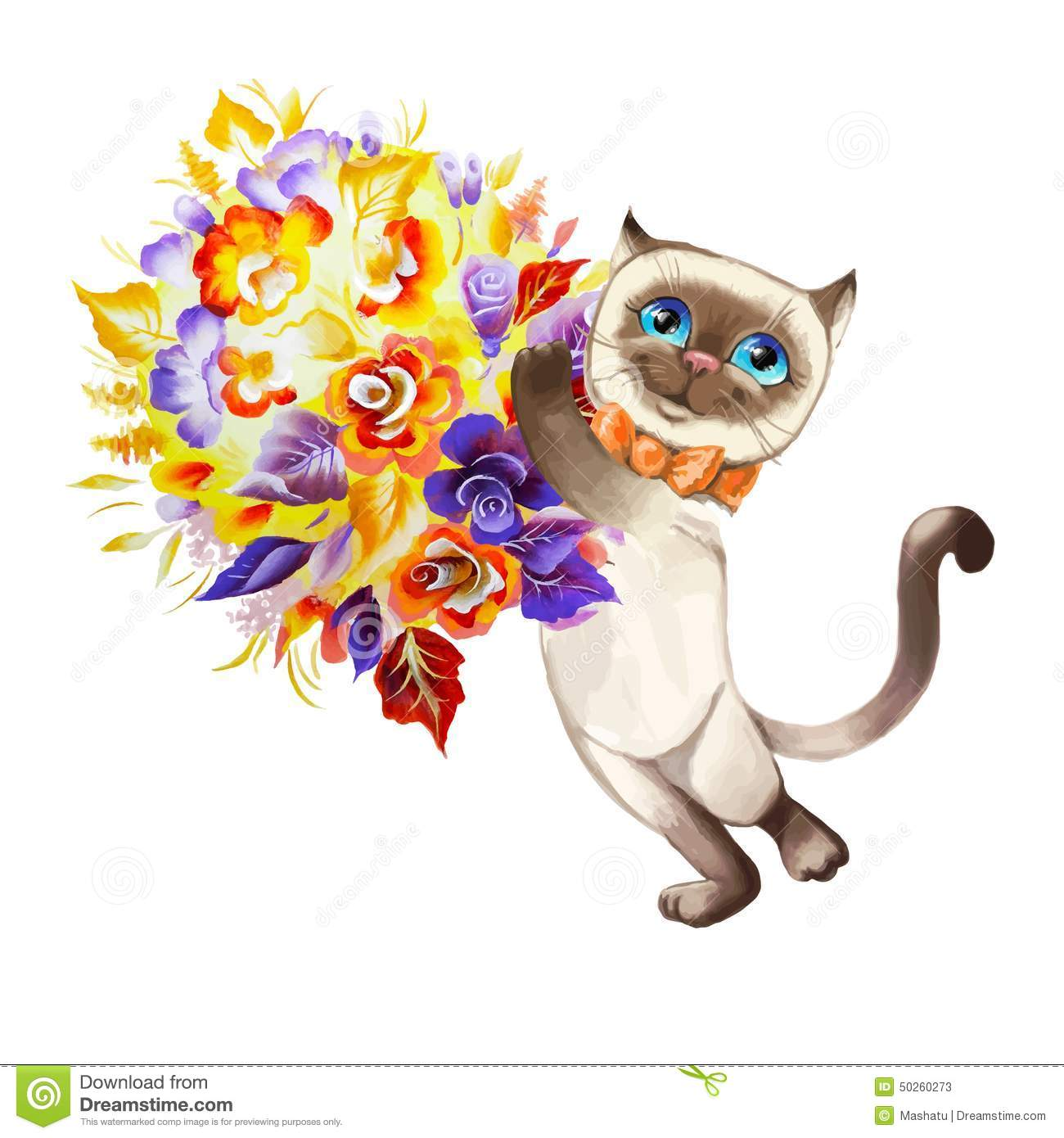 Cat With A Bouquet Of Flowers Vector Stock Vector Illustration Of