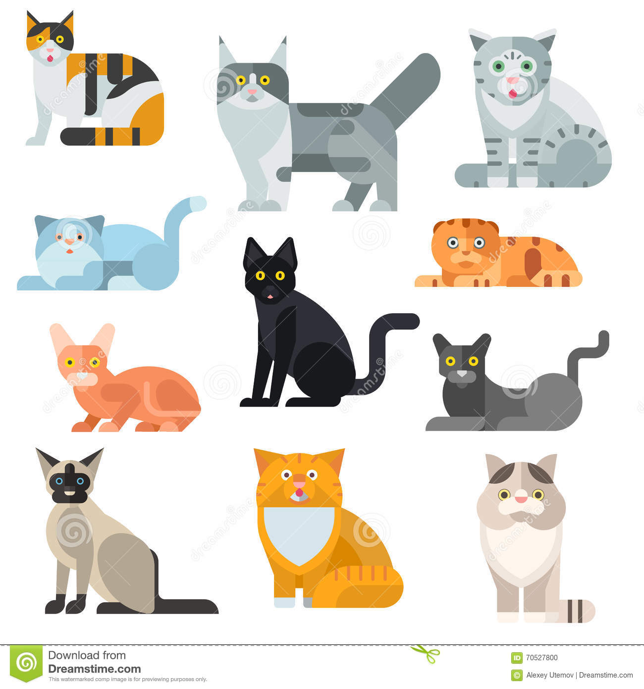 Cat Breeds Poster Cute Pet Animal Set Vector Illustration – Pet Poster