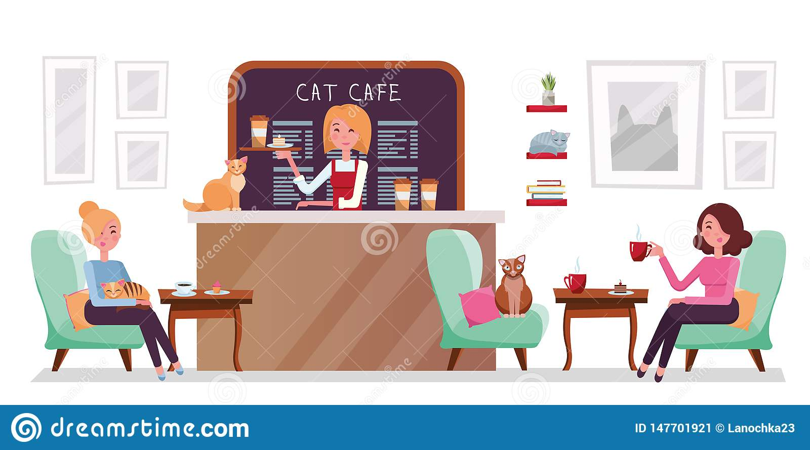 Cat cafe shop, people relaxing with kitties. Place interior to meet, drink and eat, chat, have a rest with pets, barista girl with