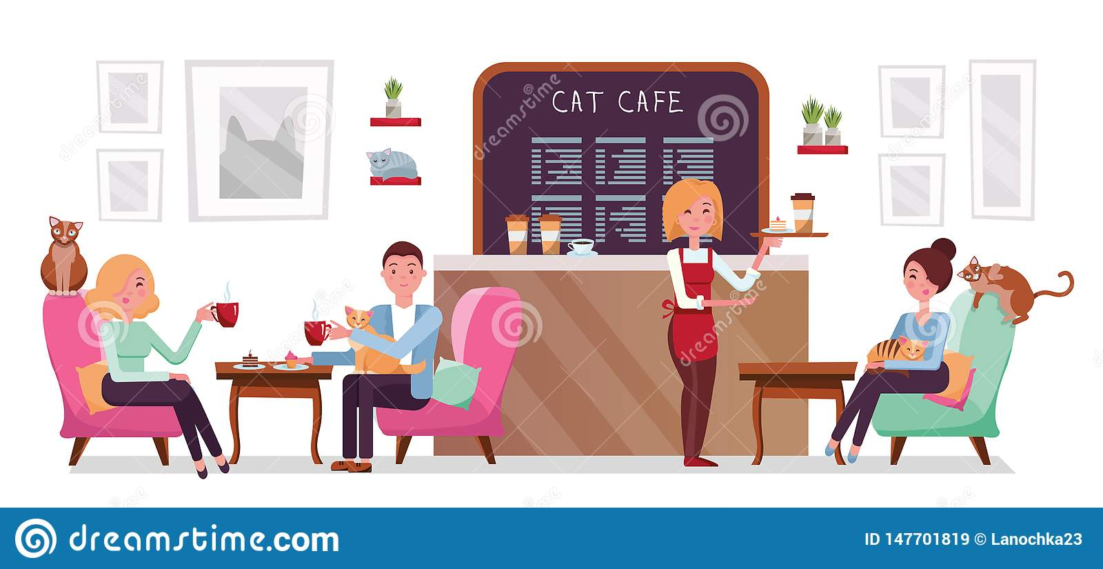 Cat Cafe Shop People Single And Couple Relaxing With Kitties Place Interior To Meet Have A Rest With Pets Waitress Tray With Stock Illustration Illustration Of Business Design 147701819