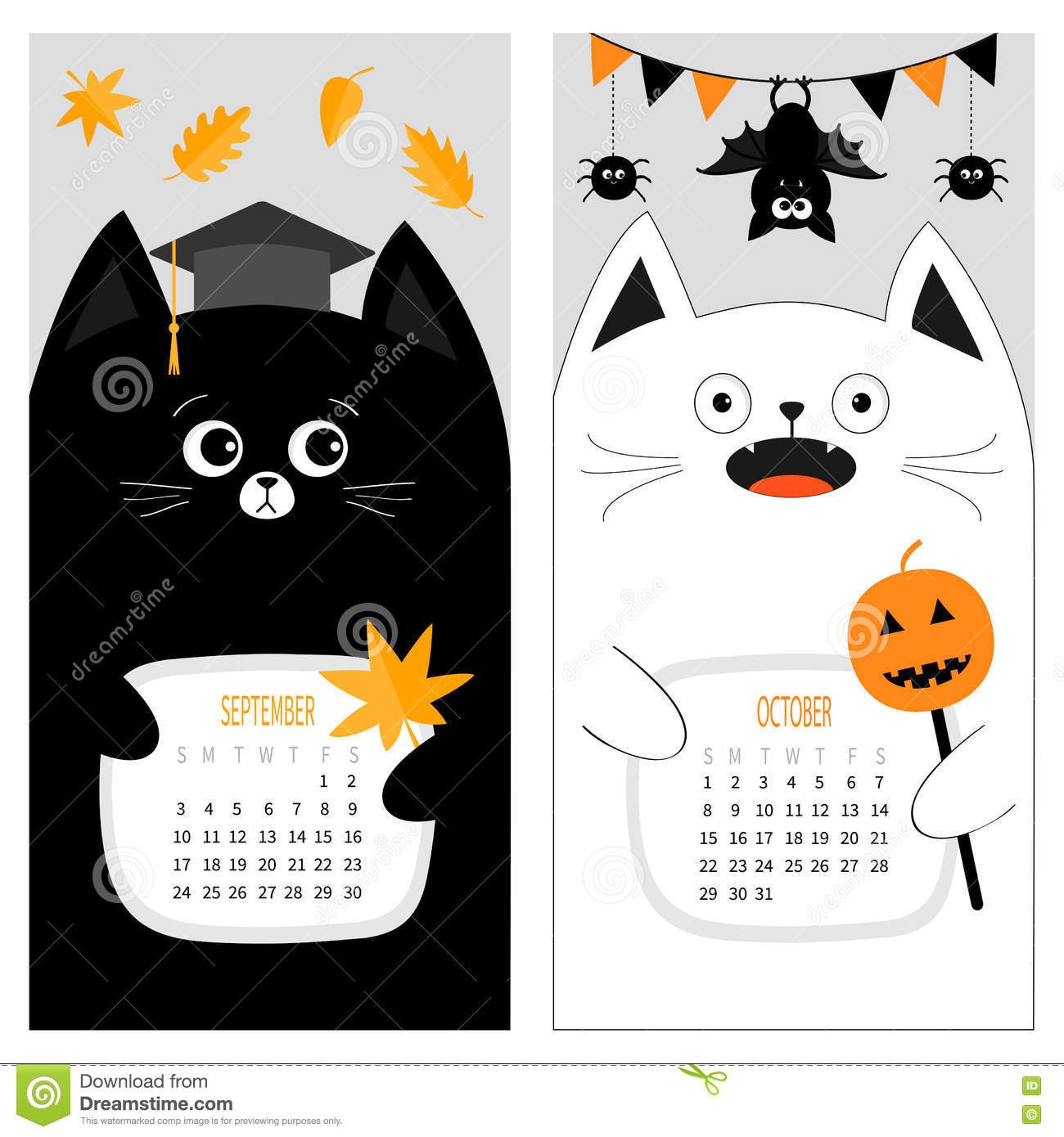 Cute Funny Cartoon Character Set. September October Autumn Month. Orange