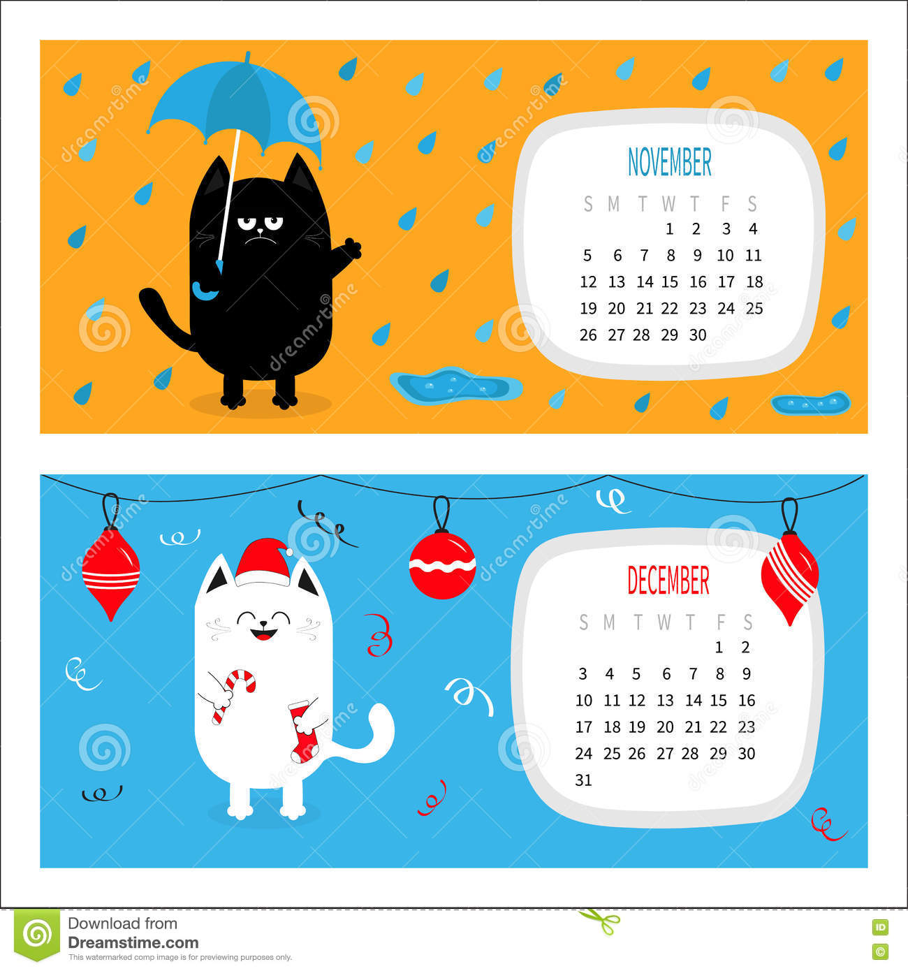 Cat calendar 2017 horizontal cute funny cartoon character set stock vector image 81978306 - Autumn plowing time all set for winter ...