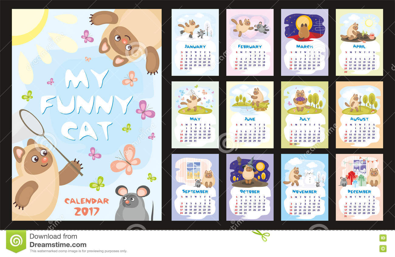 Xs Calendar April : Cat calendar stock vector image of fishing april