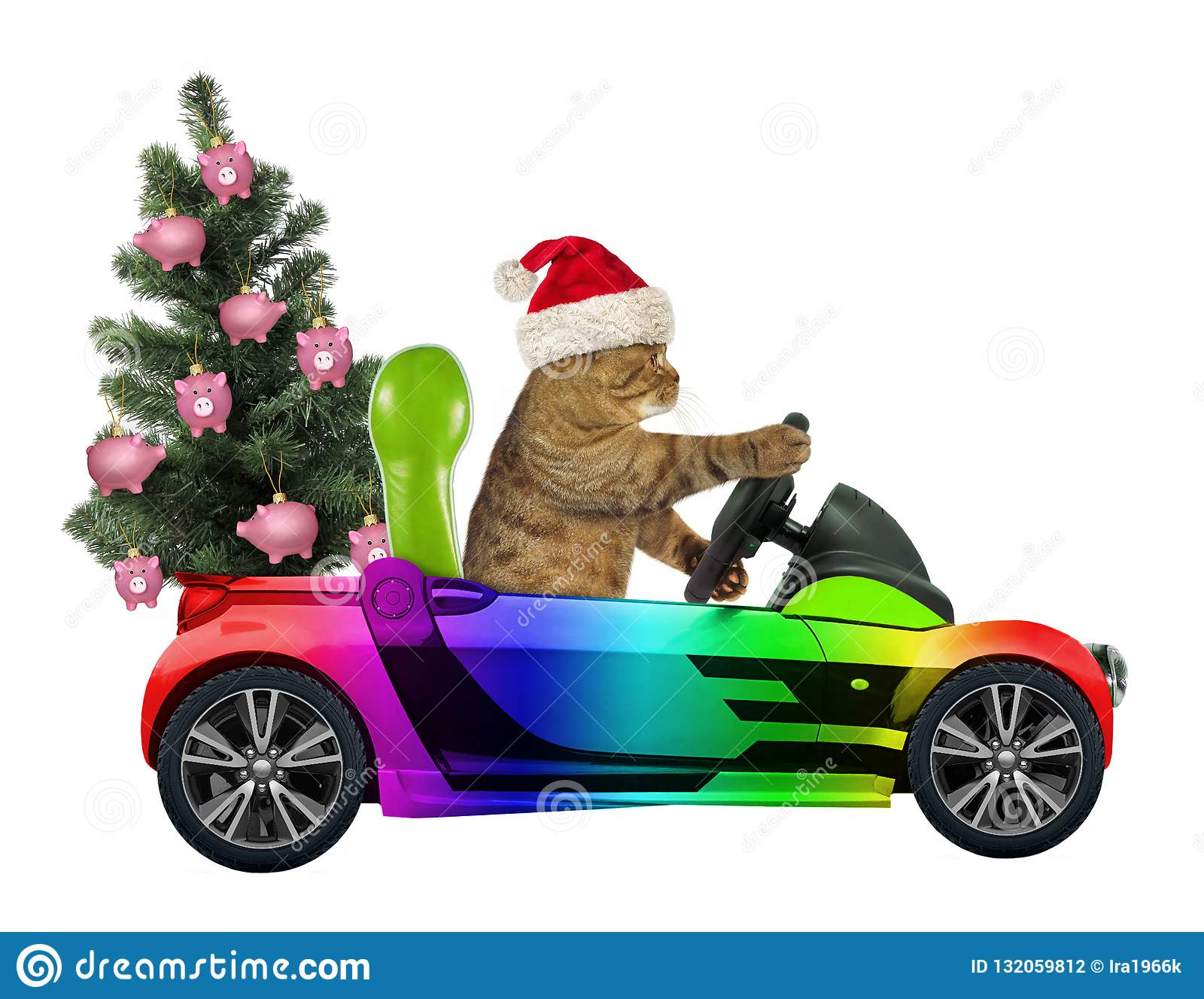 Cat carries a Christmas tree 2