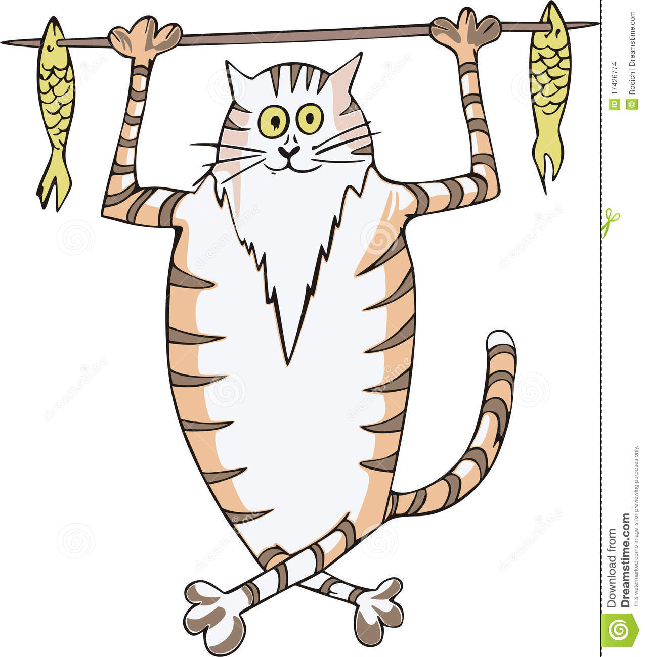Cat carrying fish on a stick stock images image 17426774 for Fish on a stick
