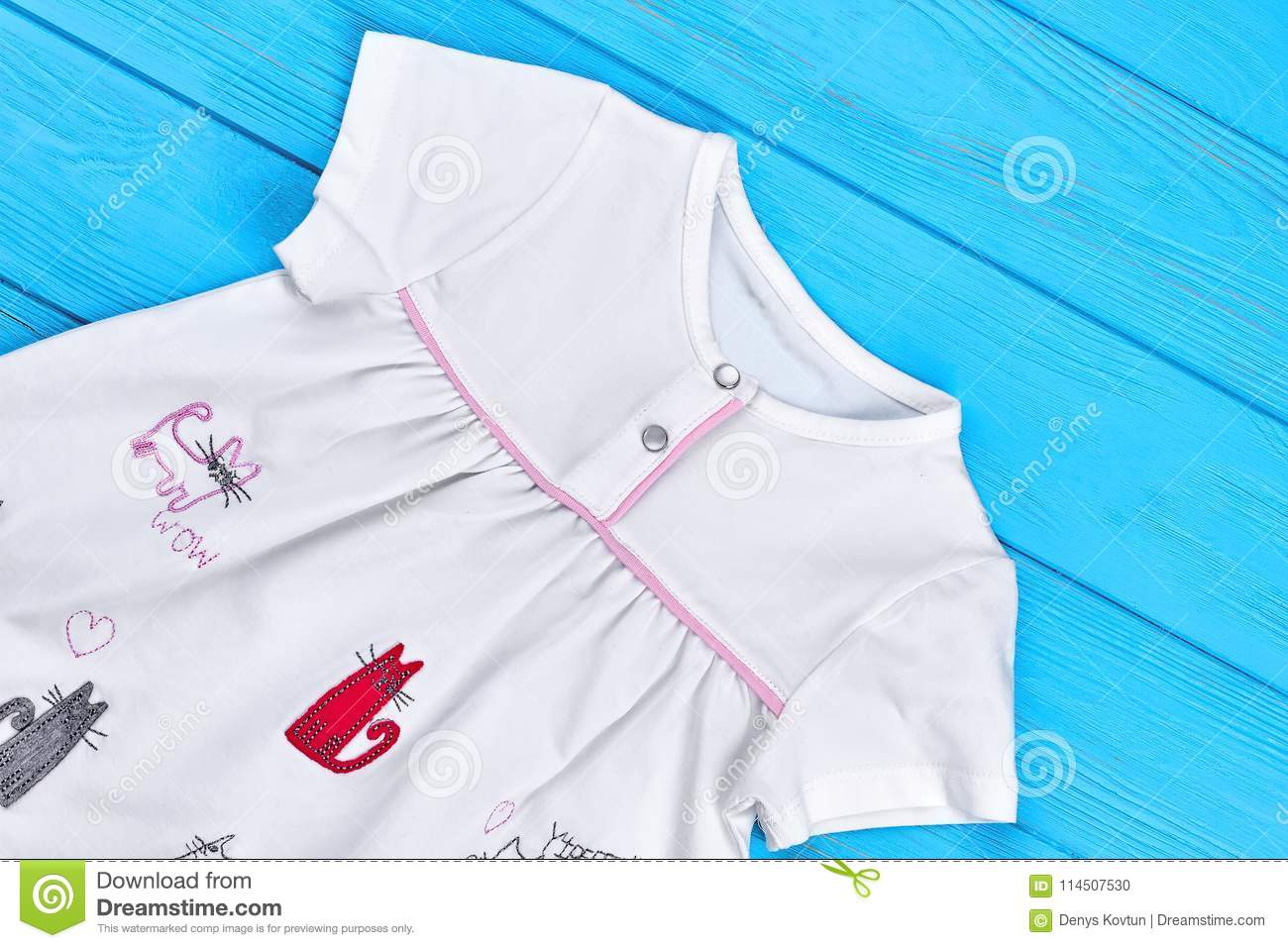 Cat Cartoon Cotton Dress For Baby-girl. Stock Photo - Image of gown ...