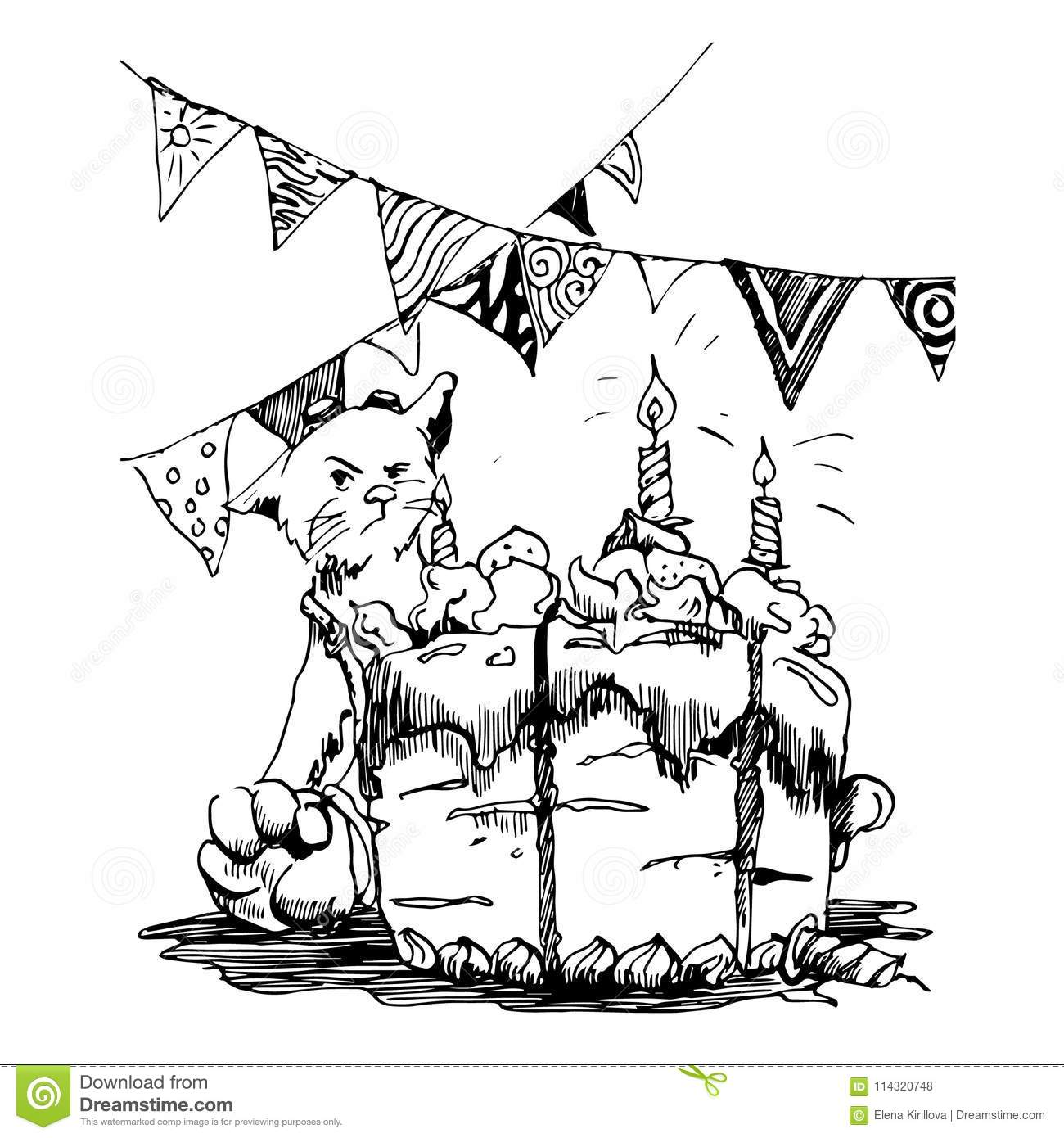 a cat celebrates a birthday the cat does not want to share the cake Princess Cake a cat celebrates a birthday the cat does not want to share the cake