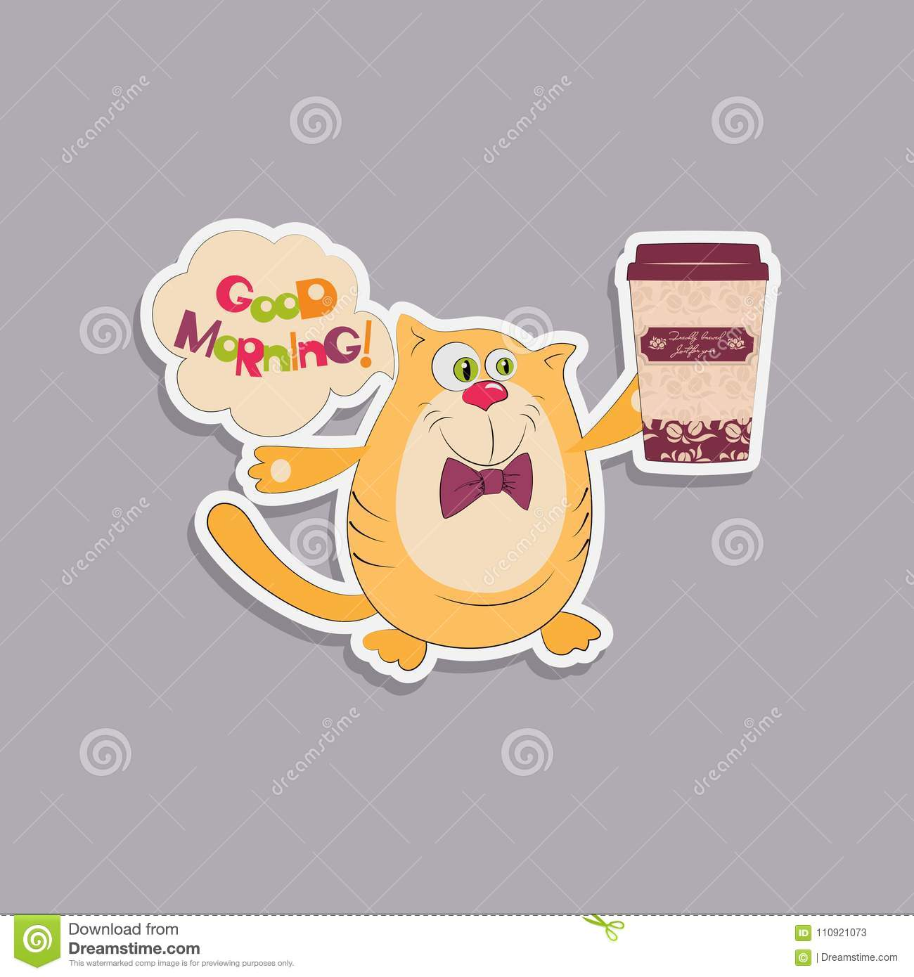 Cat Coffee And A Greeting With A Good Morning Stock Vector