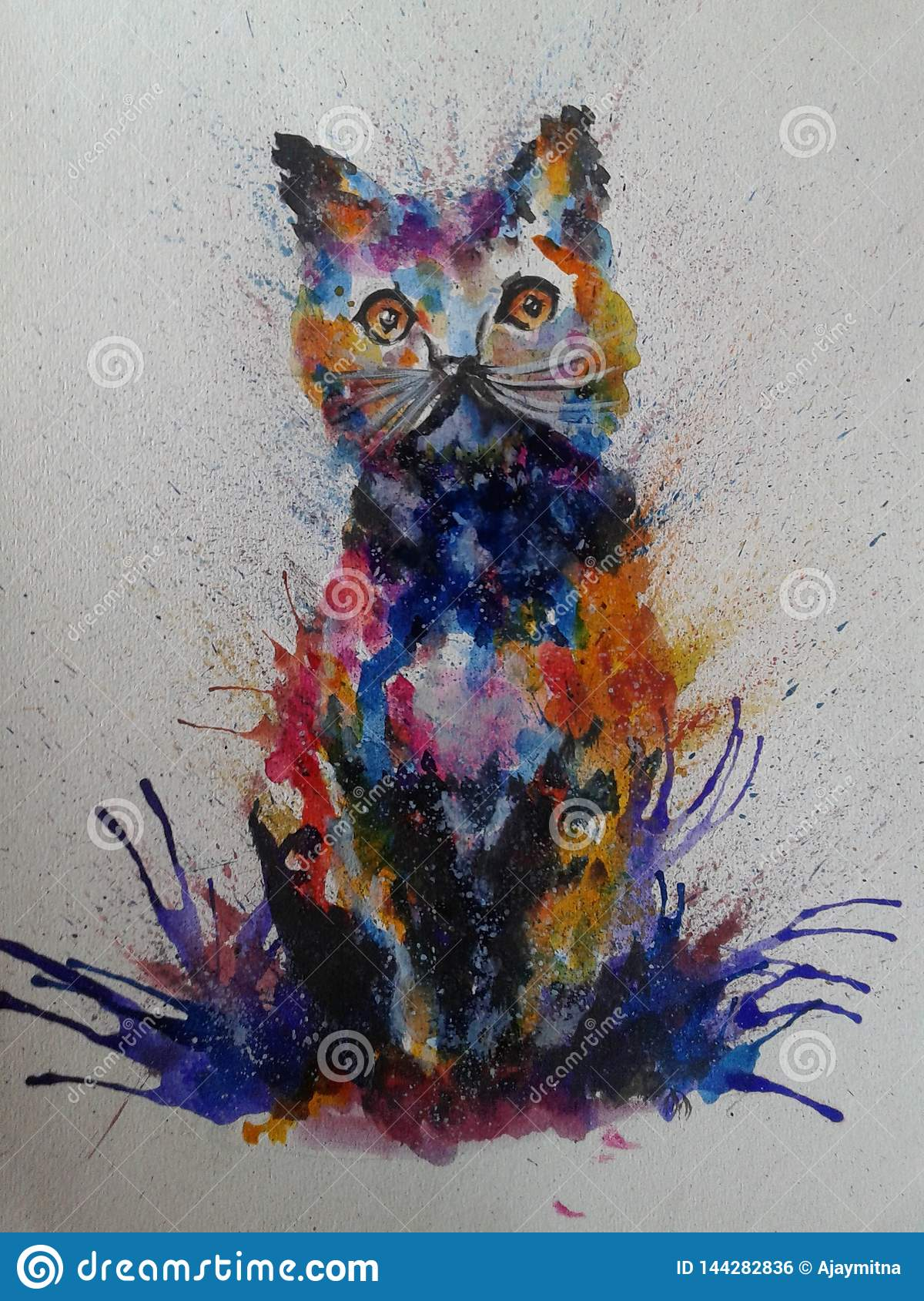 Cat Colorful Painting