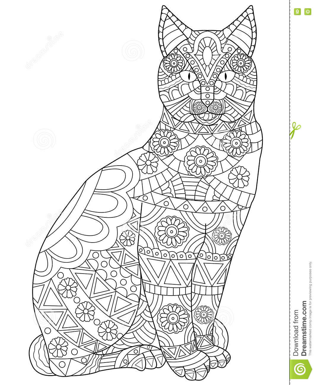 Cat Coloring Vector For Adults Stock Vector - Illustration ...
