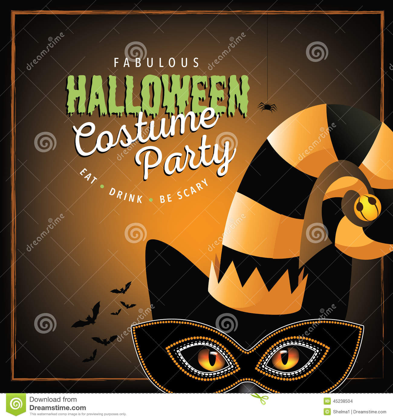 cat costume halloween party design stock vector illustration of