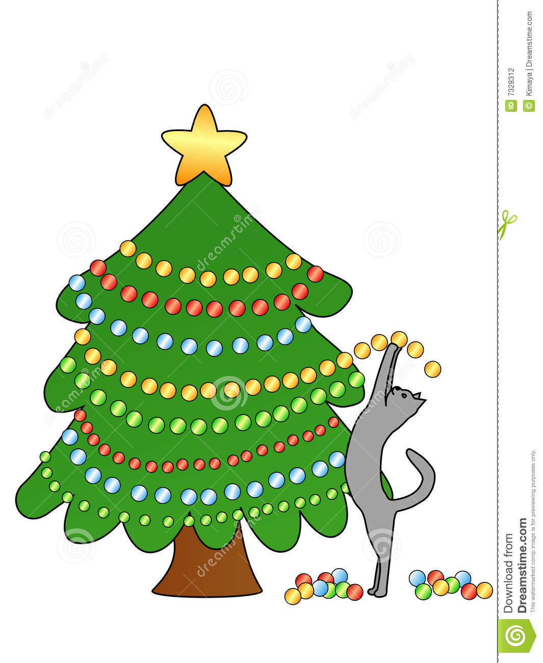 Cat decorating christmas tree stock vector image