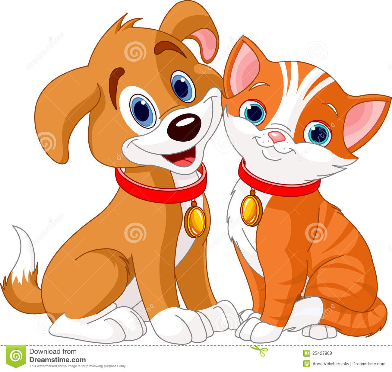 Cat And Dog Stock Vector Illustration Of Pair Funny 25427808