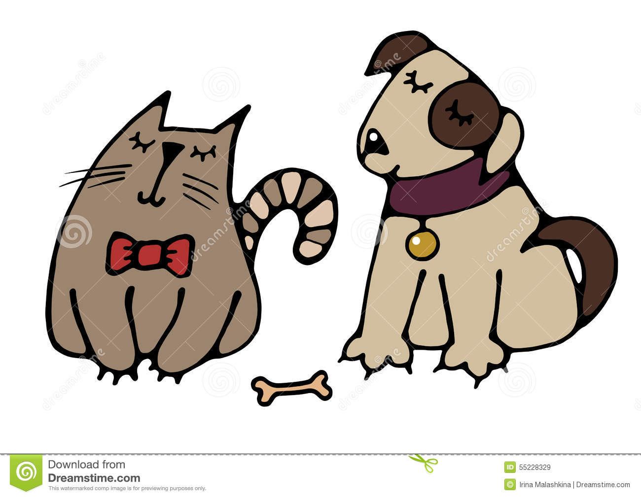 Cat And Dog Best Friends Stock Vector. Image Of Artistic