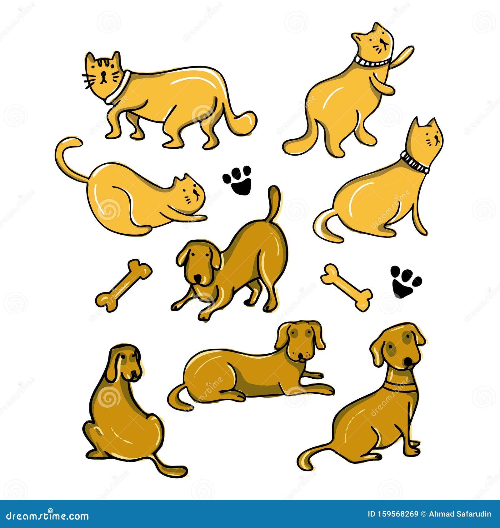 Cat And Dog Cartoon Drawing Set Design Vector Illustration ...
